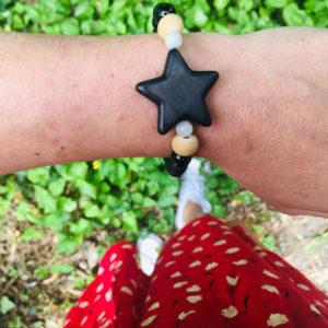 bracelet perle d'agate noir