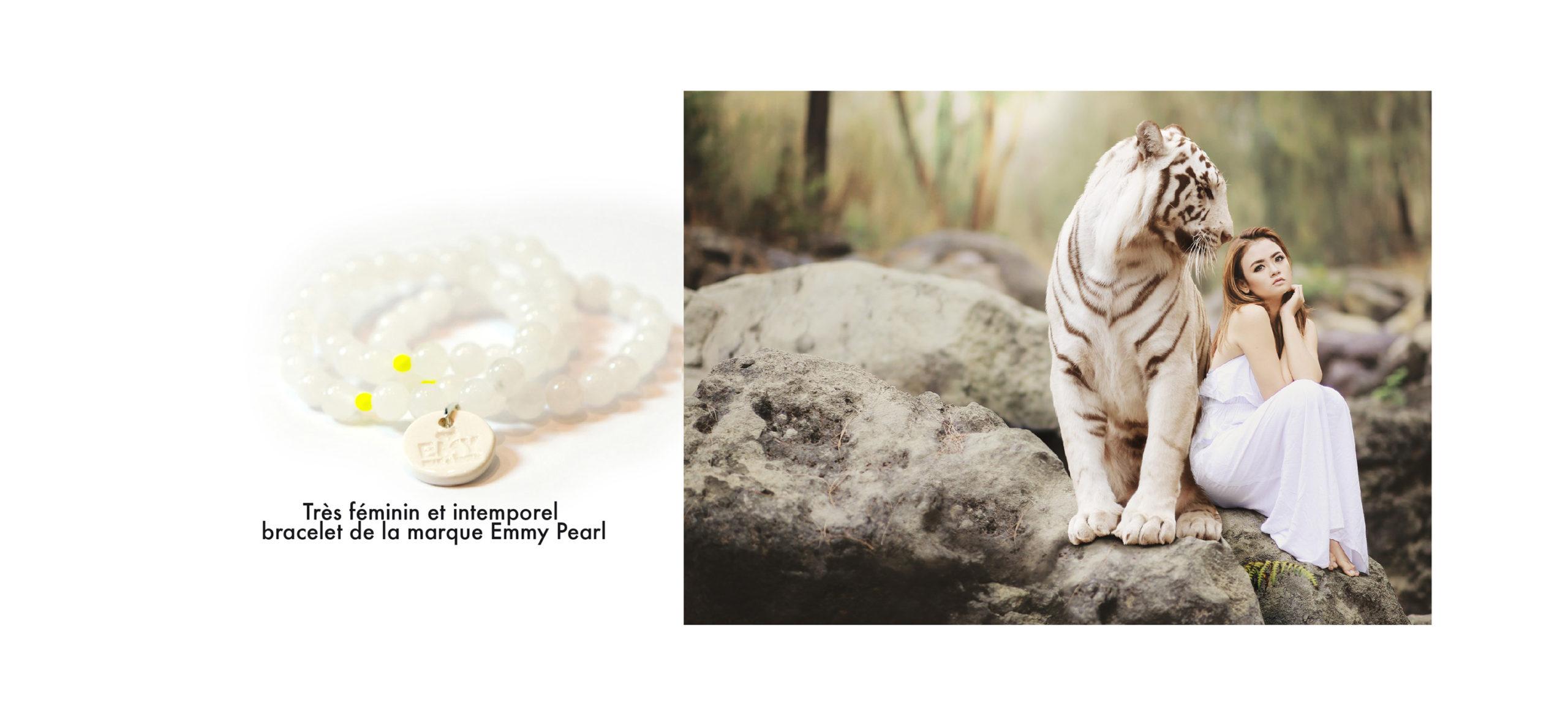 bracelet perle blanche agate et pampille, lion blanc et femme