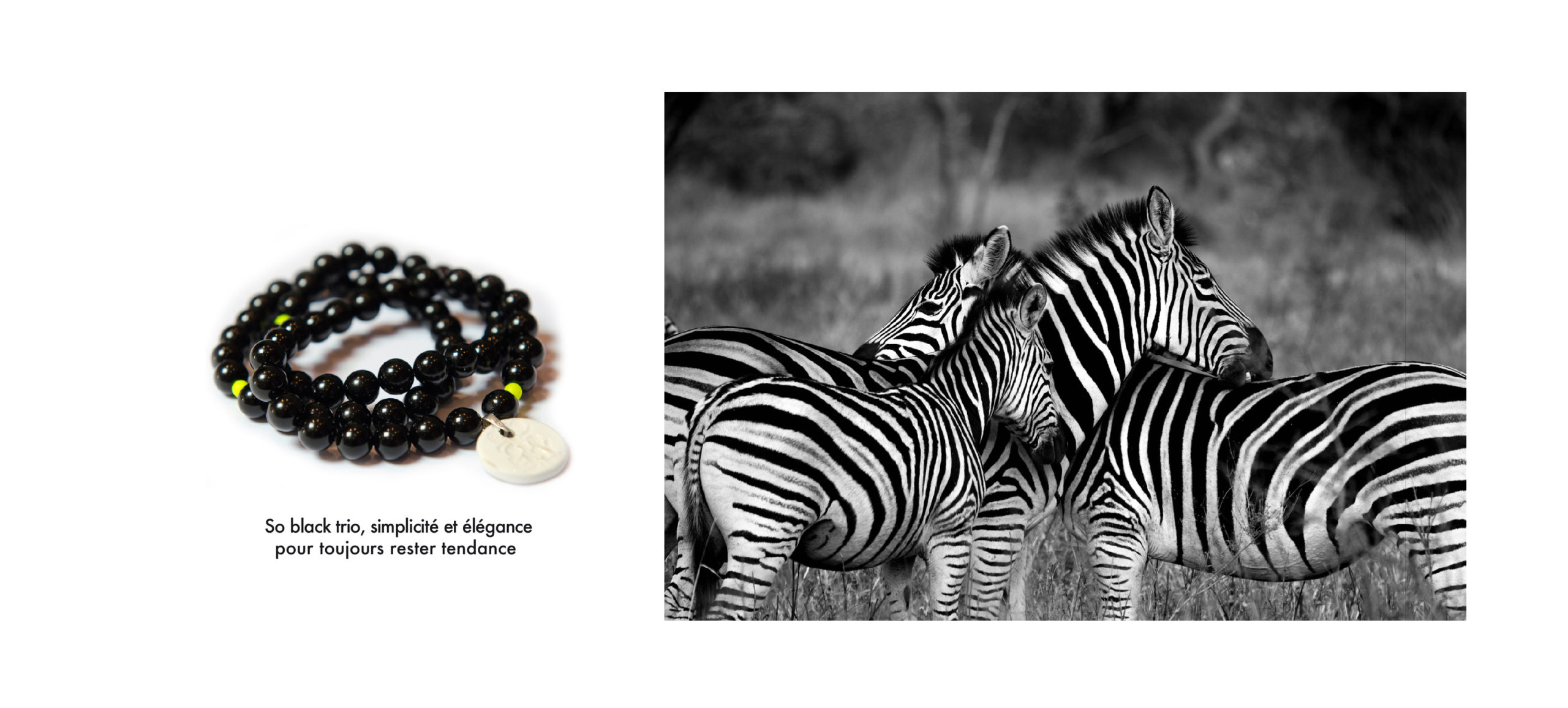 bracelet perle noire en agate noire et pampille, zèbres