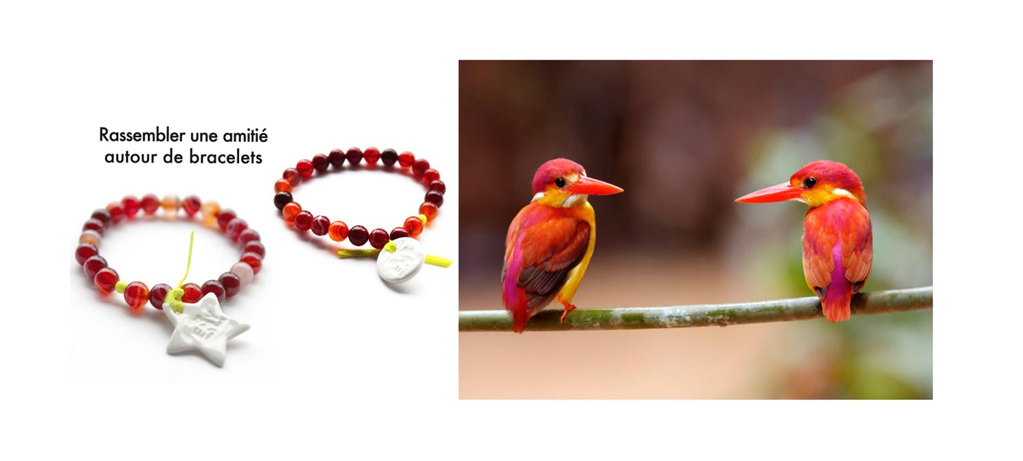bracelet perle rouge en agate et pampille, oiseau rouge